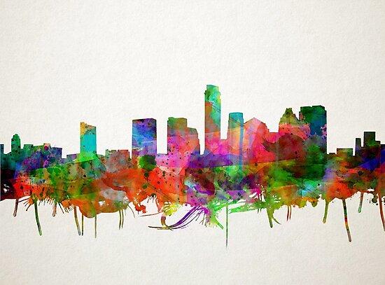 Austin skyline watercolor 4 by BekimART