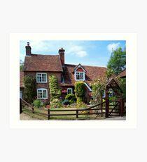 A Sweet Little Cottage and Garden  Art Print
