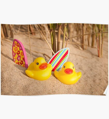 Rubber Duckies Hanging Out On Beach Poster