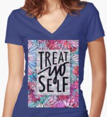Treat Yo Self Parks and Recreation  Women's Fitted V-Neck T-Shirt
