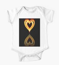 Flaming Heart on Fire with Reflection One Piece - Short Sleeve