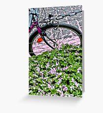 Biking through petals in Bonn Greeting Card