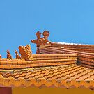 Chung Tian Buddhist Temple Rooftop Guardians by Vanessa Pike-Russell