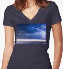 Lightning Spiral In The Night Women's Fitted V-Neck T-Shirt