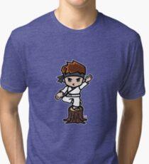 Martial Arts/Karate Boy - Crane one-legged stance Tri-blend T-Shirt