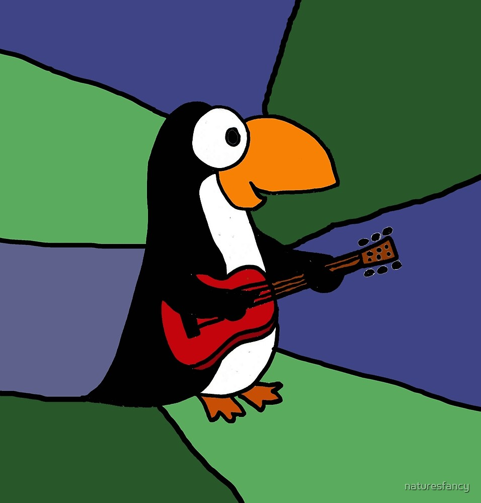 Awesome Penguin Playing Red Guitar by naturesfancy
