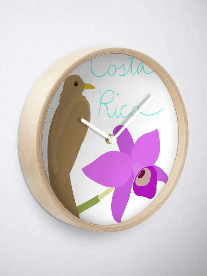 Alternate view of Costa Rica: Guaria Morada and Clay Colored Thrush Clock