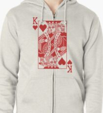 King of Hearts - Red Zipped Hoodie