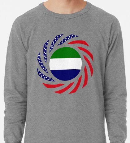 Sierra Leonean American Multinational Patriot Flag Series Lightweight Sweatshirt