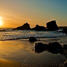 Bedruthan Steps at Sunset by James Stevens