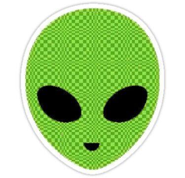 green checkered alien  by luluandizzie12