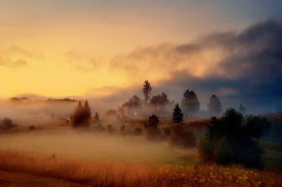 Misty village by Stevacek