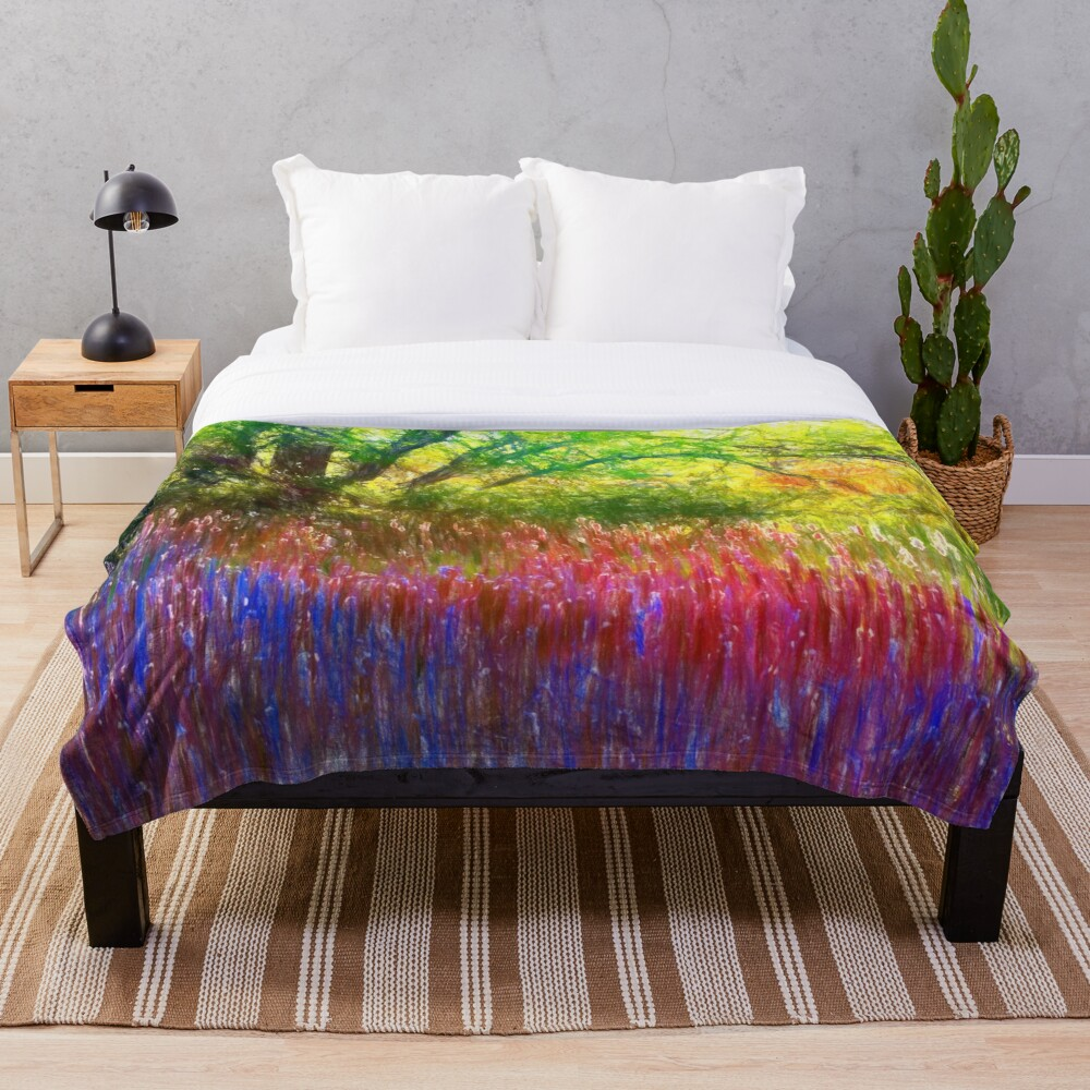 Spring in the park Throw Blanket