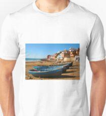Blue fishing boats in Ahrud near Agadir, Morocco T-Shirt