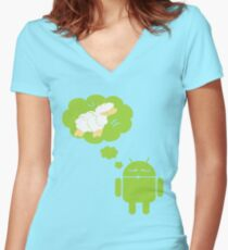 DROID Dreaming of an Electric Sheep Women's Fitted V-Neck T-Shirt