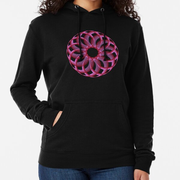 Spirograph with Red Pink Blue Lightweight Hoodie