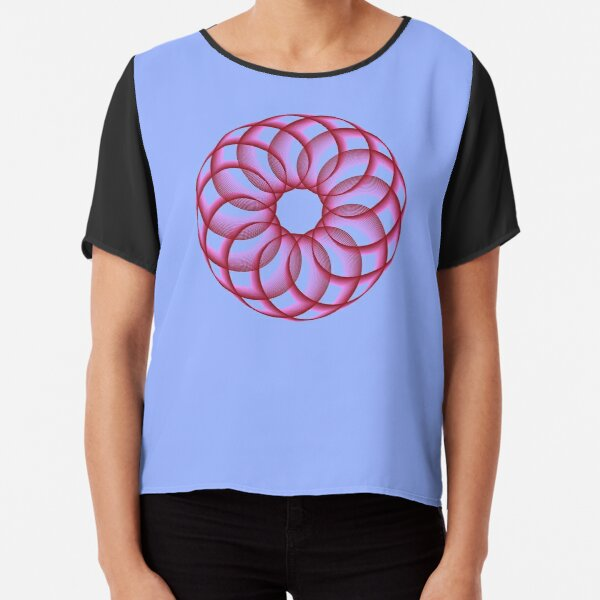 Spirograph with Red Pink Blue Chiffon Top