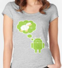 DROID Dreaming of an Electric Sheep (iron-on look) Women's Fitted Scoop T-Shirt