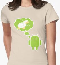 DROID Dreaming of an Electric Sheep (iron-on look) Women's Fitted T-Shirt