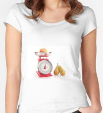 Kitchen red weight scale utensil Women's Fitted Scoop T-Shirt