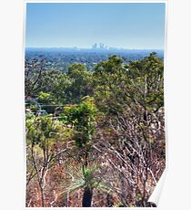 Perth city from Kelmscott hills Poster