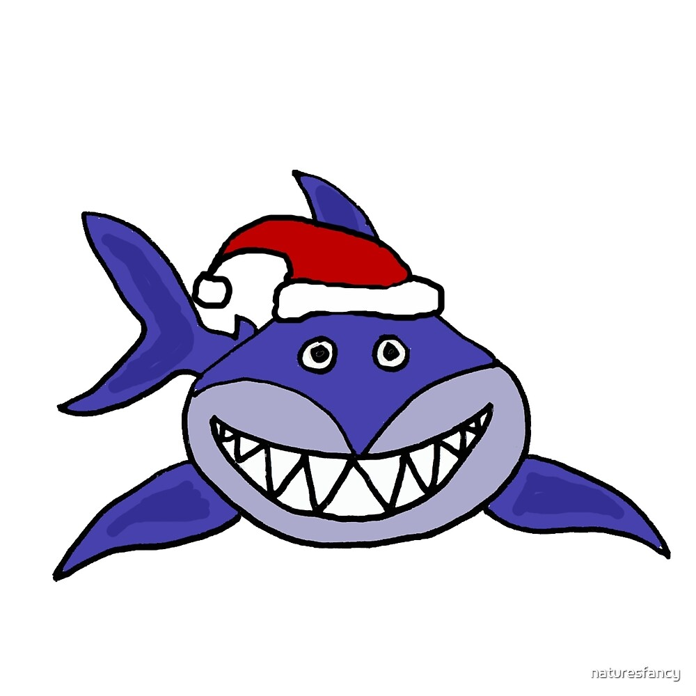 Awesome Grinning Blue Shark in Santa Hat by naturesfancy