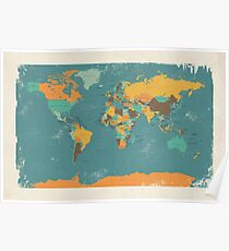 Retro Political Map of the World Poster