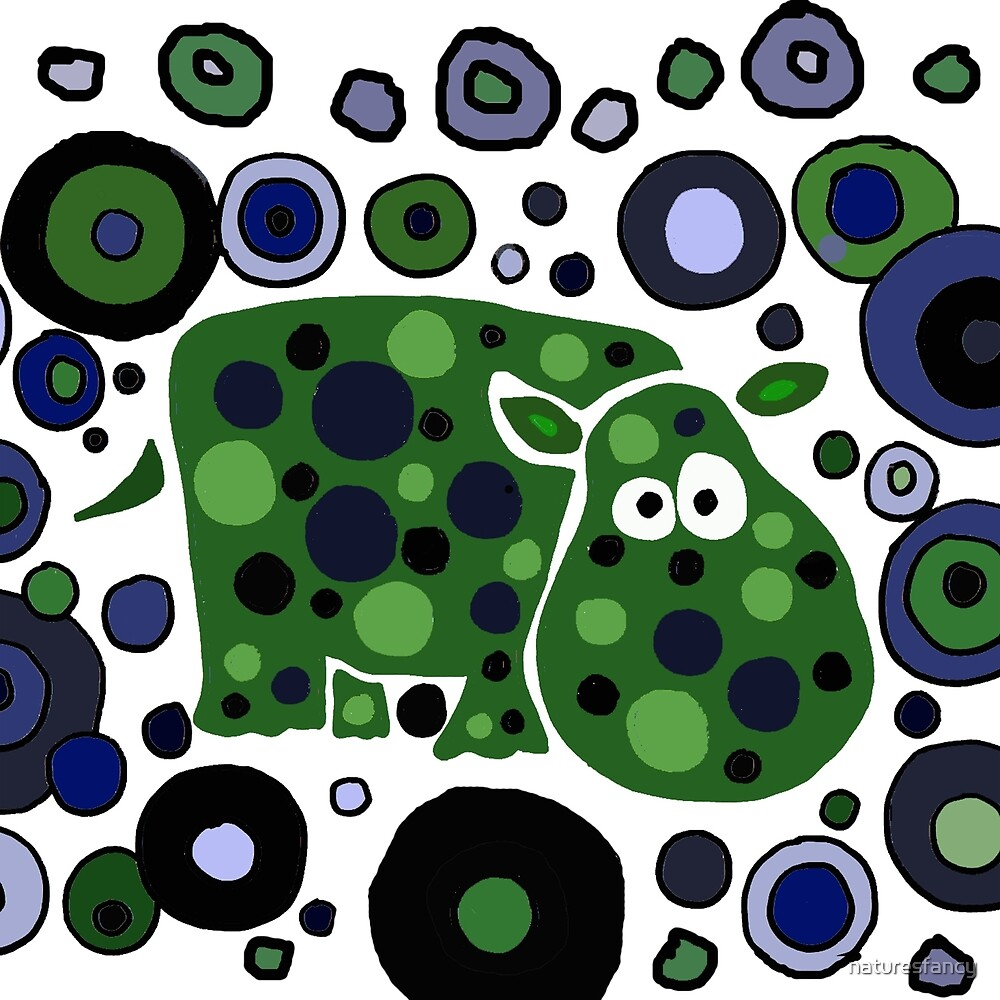 Funky Blue and Green Abstract Art Hippo by naturesfancy