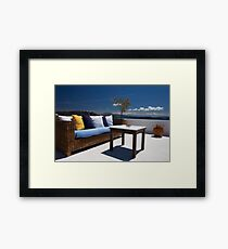 balcony exterior and sea panorama view Framed Print