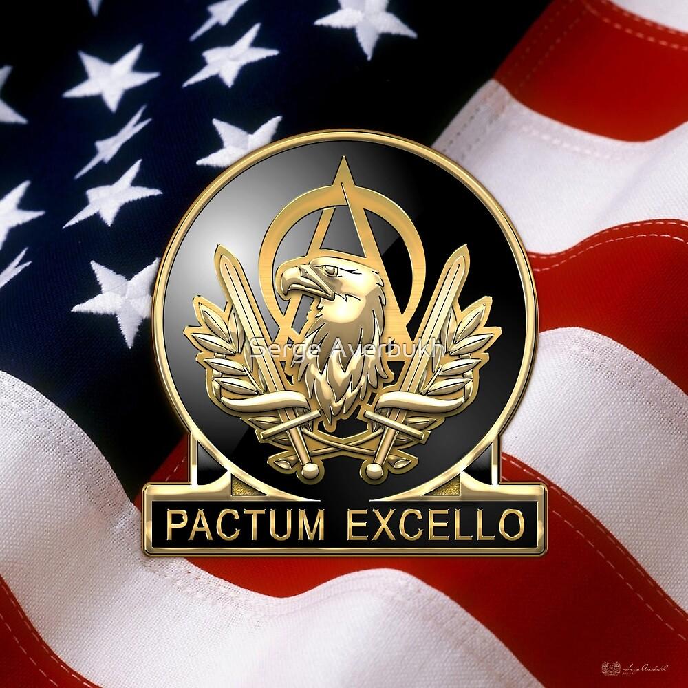Acquisition Corps - A A C Regimental Insignia U. S. Flag  by Serge Averbukh
