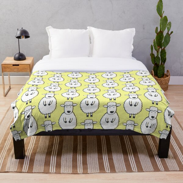 Fluffy White Sheep Illustration on Pale Yellow Throw Blanket