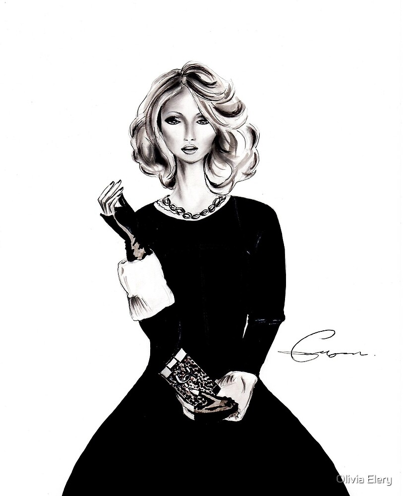 B&W fashion illustration by Olivia Elery