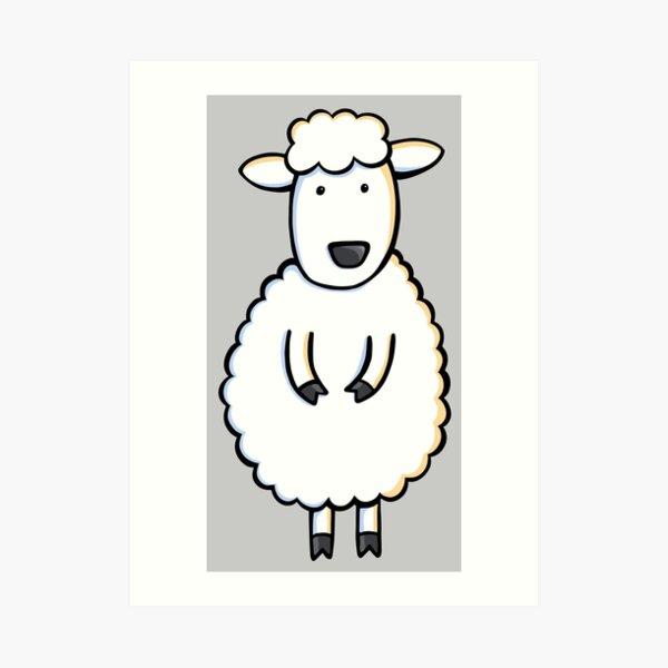 Fluffy White Sheep Illustration on Light Gray Art Print