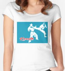 Karate Jumping Back Kick Blue  Women's Fitted Scoop T-Shirt