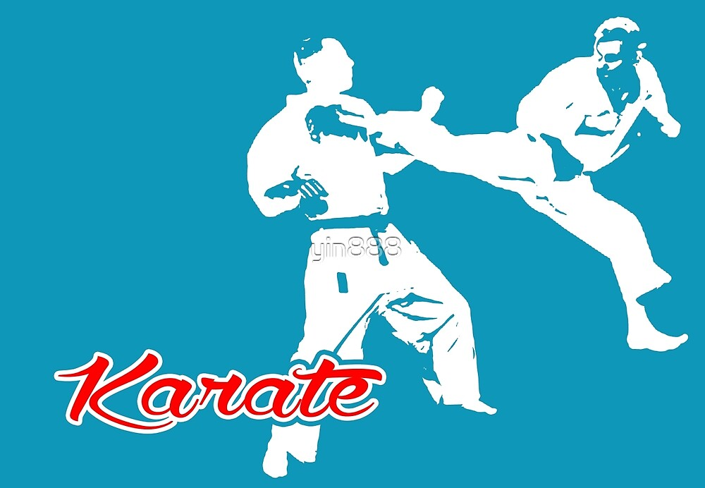 Karate Jumping Back Kick Blue  by yin888