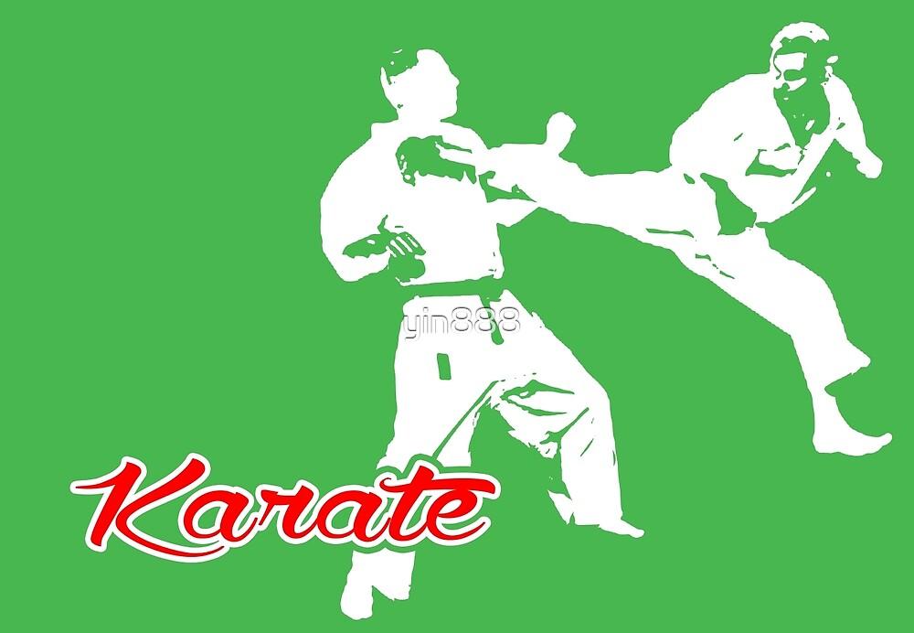 Karate Jumping Back Kick Green  by yin888