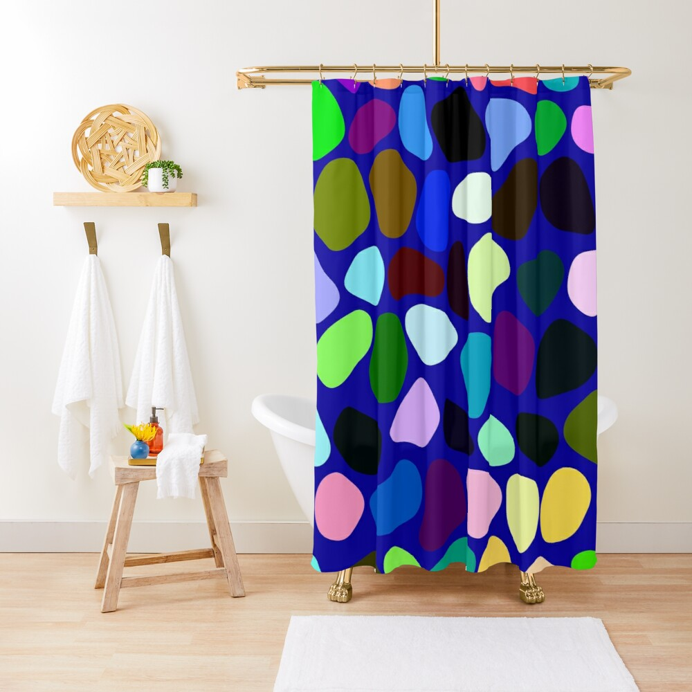 Irregularly colored shapes at random Shower Curtain