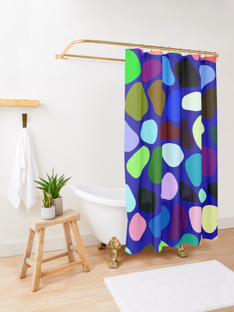 Alternate view of Irregularly colored shapes at random Shower Curtain
