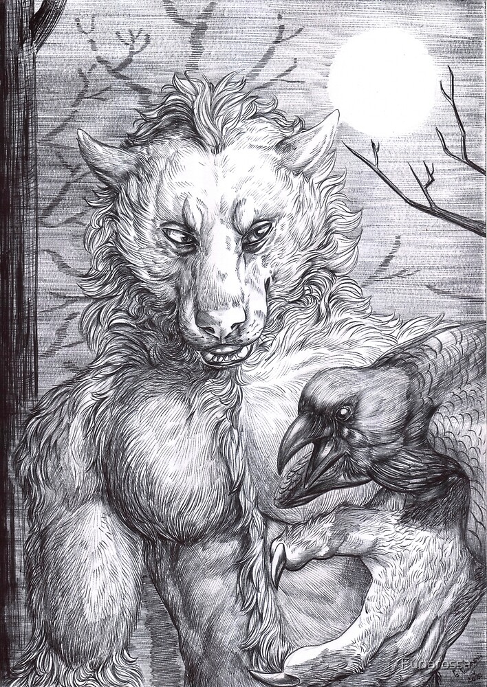 Young evil werewolf - BW by Furiarossa