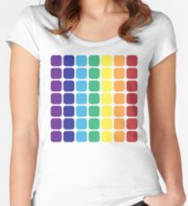 Vertical Rainbow Square - Light Background Women's Fitted Scoop T-Shirt