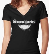 The Demon Diaries - White Logo Women's Fitted V-Neck T-Shirt
