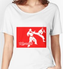 Karate Jumping Back Kick Red  Women's Relaxed Fit T-Shirt