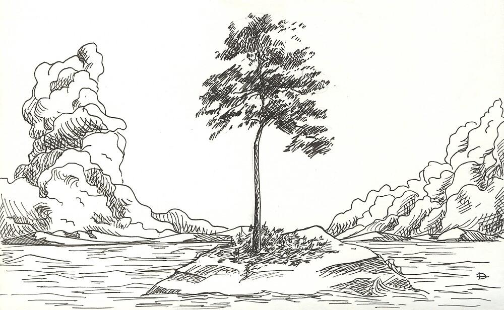 Isolated Tree by Alena Delena