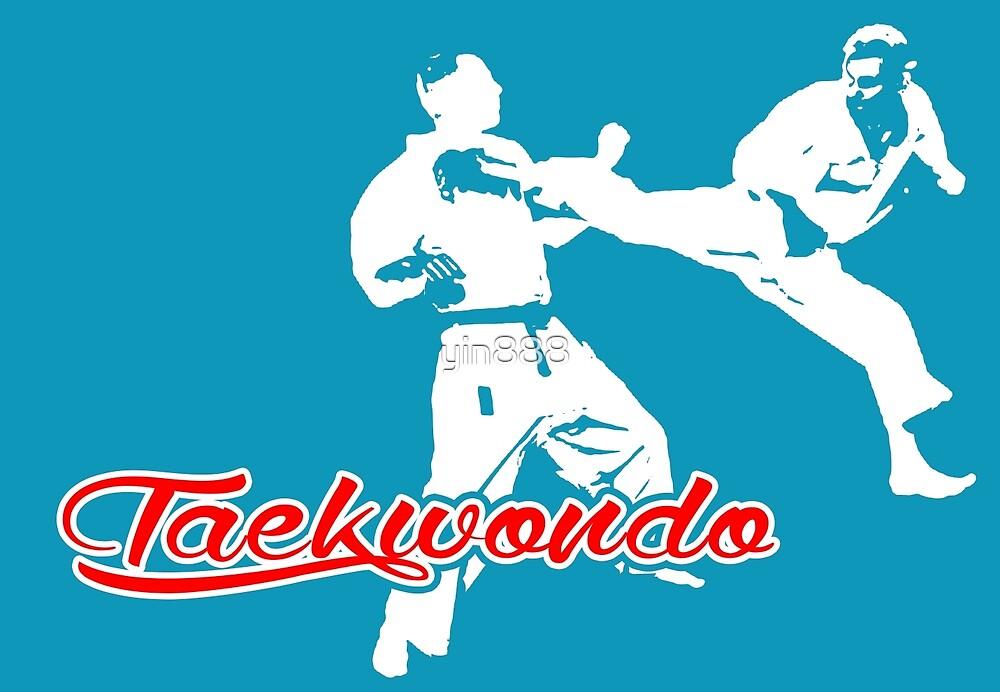 Taekwondo Jumping Back Kick Blue  by yin888