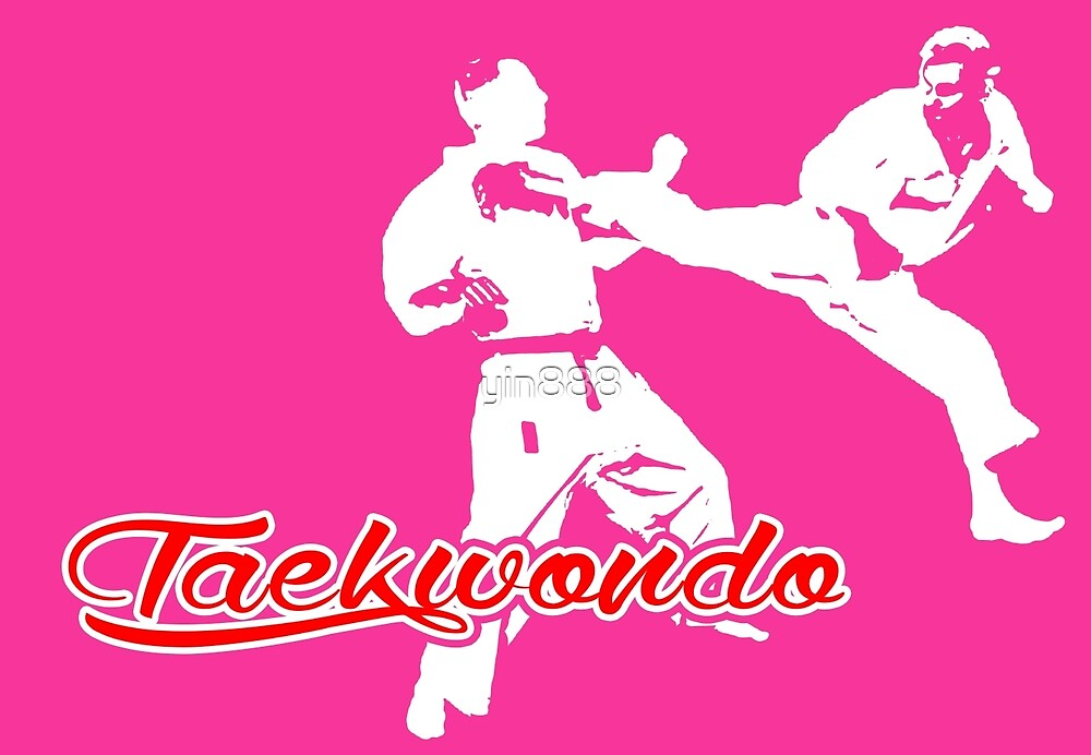 Taekwondo Jumping Back Kick Pink  by yin888