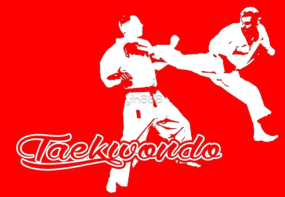 Taekwondo Jumping Back Kick Red  by yin888