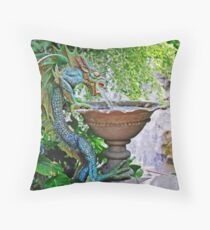 Water Spouting Blue-Green Dragon Fountain Throw Pillow