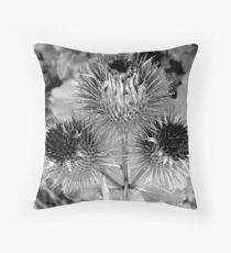 Burdock in Black and White Throw Pillow