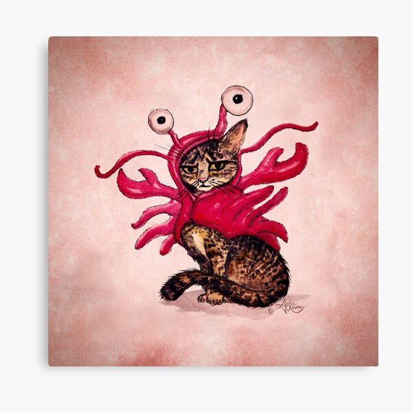 """The Lobster"" Tabby Cat by Amber Marine, Watercolor & Ink (Copyright 2015) Canvas Print"