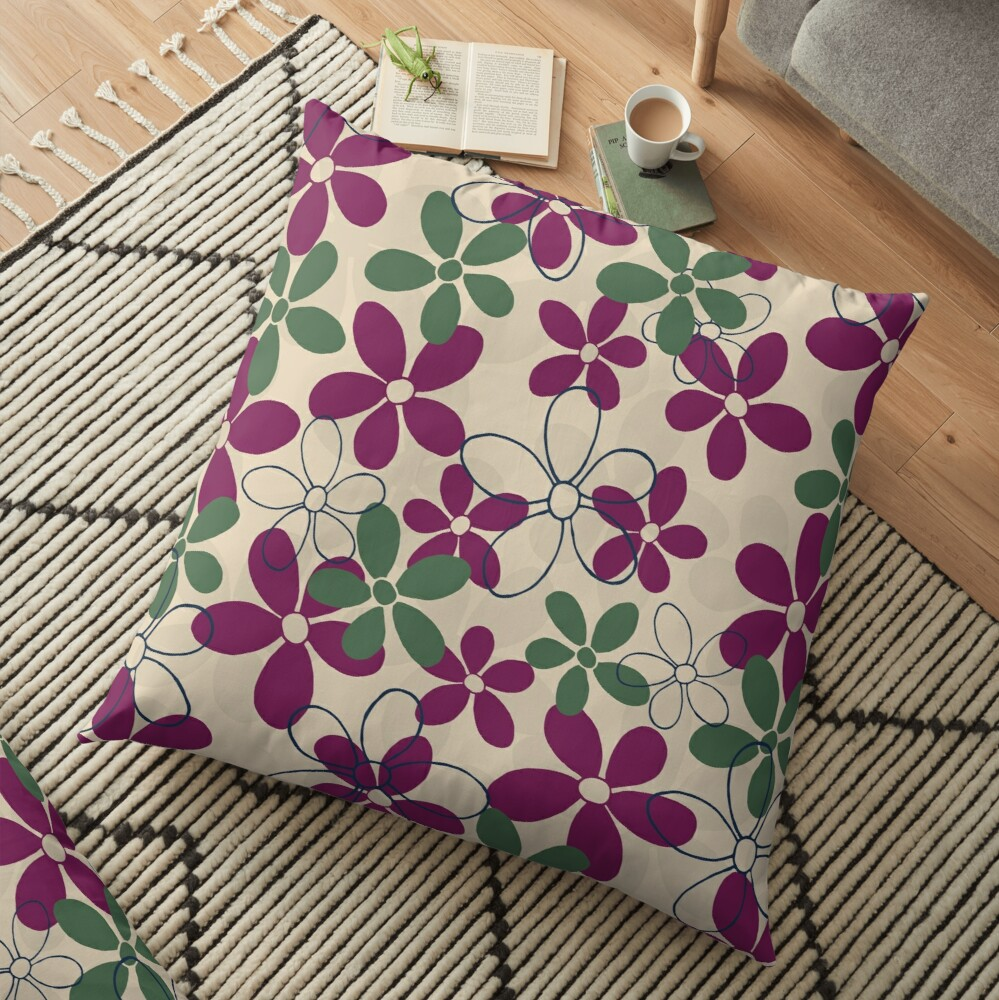 Floret Collection Floral Seamless Surface Pattern Floor Pillow